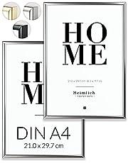 Heimlich® Dubbelpaket (2 st) bildram DIN A4 silver | bildram 21 x 30 silver med okrossbart plexiglas | aluminium