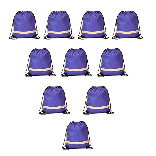 - IMI Reflective Strip Drawstring Backpack for Gym Traveling Partys Promotional Sport 10PCS (Royal Blue)
