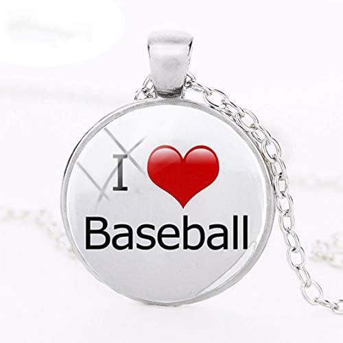 Collar con colgante de pelota de béisbol con texto en inglés «Keep ...