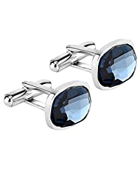 Lux & Pair Elegant Crystal Cuff Links Premium 316L Stainless Steel & Deluxe Genuine Blue Swarovski Crystal Elements | for Formal Outfits, Suits, Weddings & Work