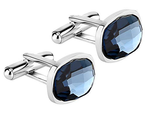 Lux & Pair Elegant Crystal Cuff Links Premium 316L Stainless Steel & Deluxe Genuine Blue Swarovski Crystal Elements   for Formal Outfits, Suits, Weddings & Work