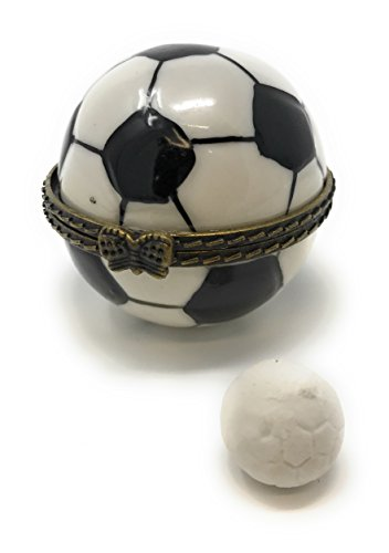 Soccer Ball Hinged Lid Porcelain Trinket Box, by ArtGifts, 1.5