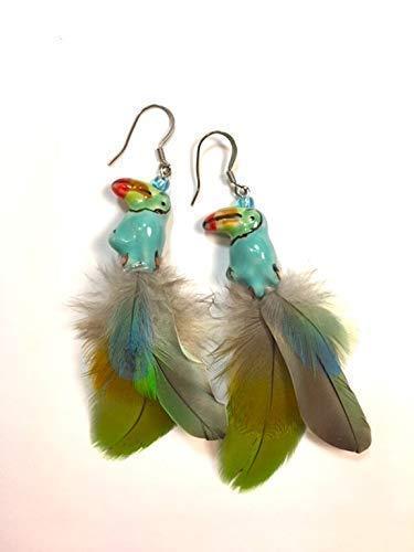 Feather Earrings for Women Long Feather Earrings for Women Green