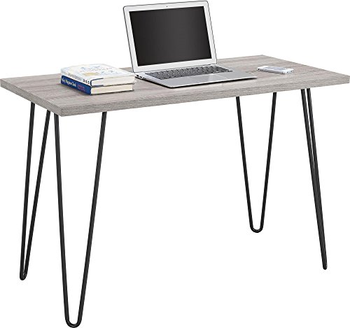 Ameriwood Home Owen Retro Desk with Metal Legs Weathered Oak - Place the slim Ameriwood Home Owen Retro Desk in the living room, dining room or bedroom for an industrial feel Minimal assembly required. Dimensions: 26.75 inches h x 40 inches w x 19.5 inches d. Shipping weight is approximately 30.21 pounds A light brown with gray undertones top pairs perfectly with the gray hairpin legs - writing-desks, living-room-furniture, living-room - 41a7aJhrPFL -