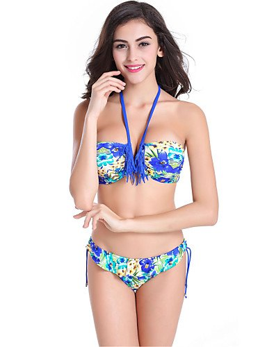 skt-swimwear Damen Sommer-Stil Blumen Print Triangl Quasten Bikini