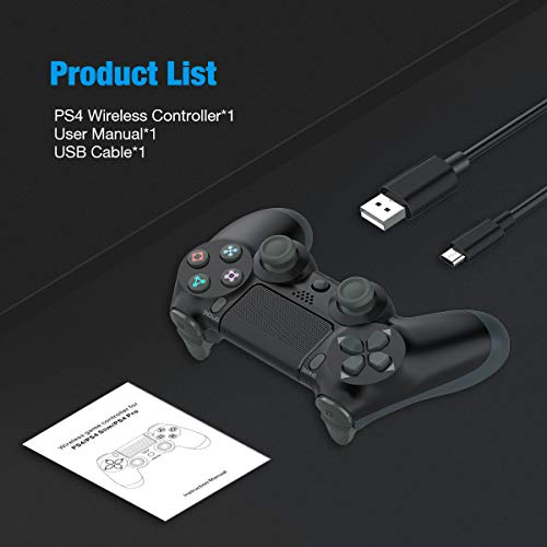 Y-Team Wireless Controller for PS4 Video Game Gamepad Controller with Motors Touchpad Joystick Audio Indicator and USB Cable for Playstation 4/Pro/Slim(Black)