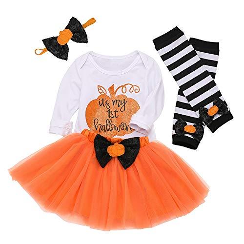 Newborn Baby Girl Halloween Outfit Cute Pumpkin Romper Top+Tulle Tutu Skirt+Headband+Leg Warmers 4Pcs Set(My 1st Halloween, 6-12 ()