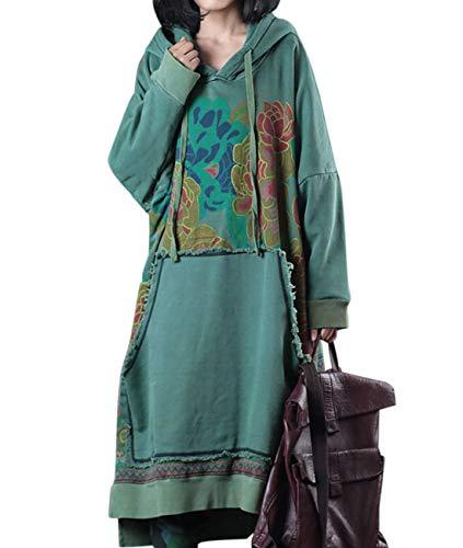 - YESNO JFD Women Long Casual Hooded Sweatshirt Dress Ethnic Floral Print Color Block Hemline/Kangaroo Pocket
