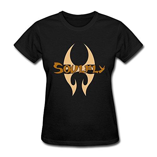 YONGDE Women's Soulfly Logo T-shirt Size M Black