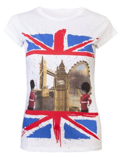 Damen T-Shirts Damen Union-Jack-Flagge Big Ben, Super Qualität, Olympic Tops Weiß