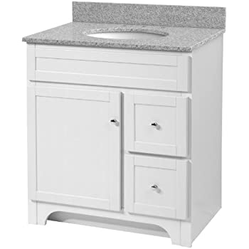 Foremost WRWAT3021D 8M Worthington 30 Inch White Bathroom Vanity With  Meteorite Gray Granite Top