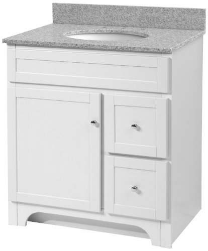 Foremost WRWAT3021D-8M  Worthington 30-Inch White Bathroom Vanity with Meteorite Gray Granite Top and White Vitreous China Sink