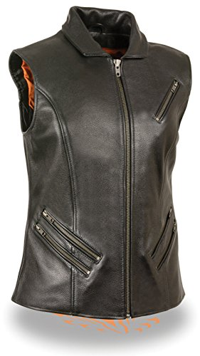 Dream Women's Motorcycle Extra Long Zipper Leather Vest w/2 Gun Pockets Shirt Collar(3XL)