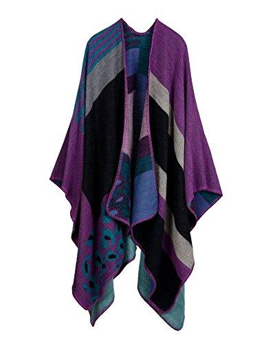 Poncho Cardigan Scialle Lavorato Block da Invernale Capes Multicolore Maglia Scialle Colour Donna a Avvolgente FSqwUU