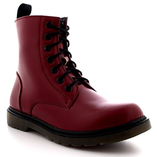 Viva Mens Lace Up Goth Punk Vintage Chunky Military Retro Combat Ankle Boots - Ox red - US10/EU43 - (Red Mens Boots)