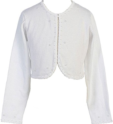 Little Girls Long Sleeve Beaded Flower Girl Cardigan Sweater Bolero (CB SW) White M