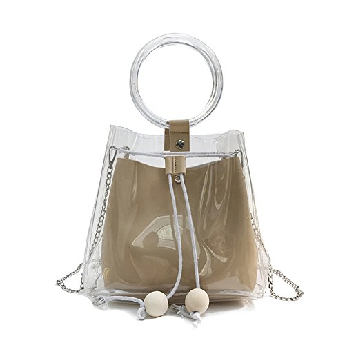 Handbag Khaki Fashion Shoulder Women's Composite Symboat Transparent Lady PVC Crossbody Bag xSwqxBvY