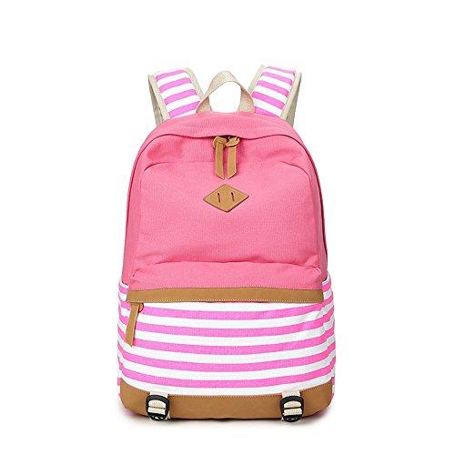 Rayas Casual lona portátil bolso escolar mochila ligera mochilas para niñas adolescentes (Púrpura) Color de rosa