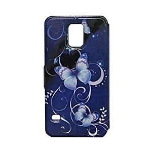 Blue Butterfly Card Slot Holder With Stand PU Leather Full Body Case for Samsung Galaxy S5 I9600