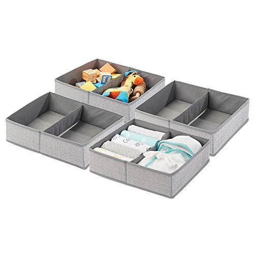 mDesign Soft Fabric Dresser Drawer and Closet Storage Organizer Bin for Child/Kids Room, Nursery, Playroom - Divided 2 Section Tray - Herringbone Print, 4 Pack - Gray