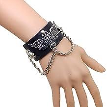 League of Legends Style Leather Metal Skull Studs Bracelet for Men