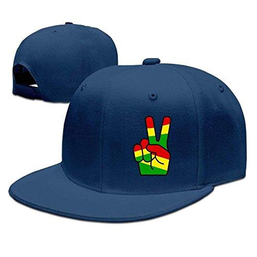 dvdaawk Rasta Peace Fingers Unisex Adjustable Flat Brim Baseball Cap Hip Hop Hat Navy