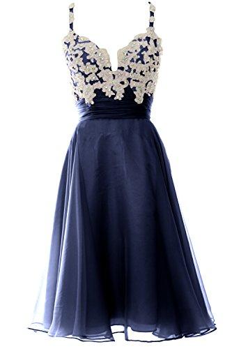 MACloth Women Strap Short Lace Chiffon Cocktail Dress Short Prom Formal Gown Azul Marino Oscuro