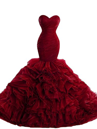 Beilite Women's Sweetheart Mermaid Evening Dresses Long Ruffles Organza Prom Gown Red 16 by Beilite