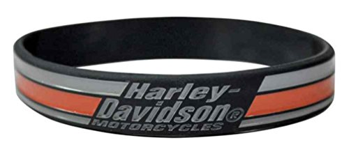 - Harley-Davidson Debossed Fashion Racing Stripes Silicone Black Wristband WB18364