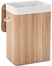SONGMICS Wasmand van bamboe, opvouwbare wasmand met deksel en uitneembare waszak van katoen, 72 l wasbox, wasmand