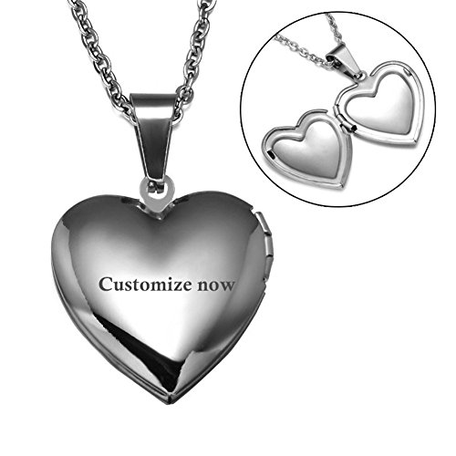 Sunling Custom Personalized Silver Stainless Steel Open Heart Photo Locket Necklace Name Date Engraved Pendant Birthday for Her,Mom,Wife,Daughter,Girlfriend,Free (Locket Free Engraving)