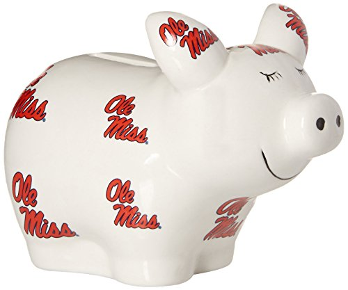 NCAA Ole Miss Rebels Logo All Over Piggy Bank, One Size, Multicolor