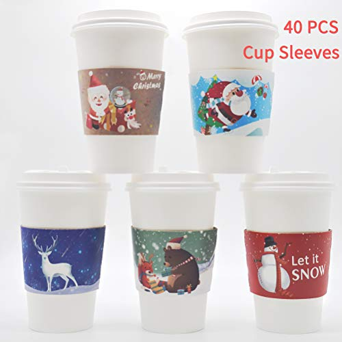 40pcs Christmas Coffee Cup Hot Chocolate Cup Sleeves,Fits 12 oz 16 oz,with 5 Different Custom Xmas Designs,for Christmas Hot Chocolate,Coffee,Cocoa,Tea or Cold Beverage