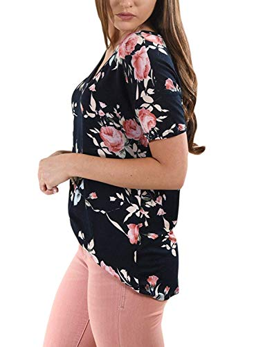Sciolto Maglietta neck Manica Donna V Ragazza Modello Camicetta Libero Tempo Chic Shirts Moda Bluse Blau Fiore Estivi Corta Tunica Leggero Navy FwvxqF8rX