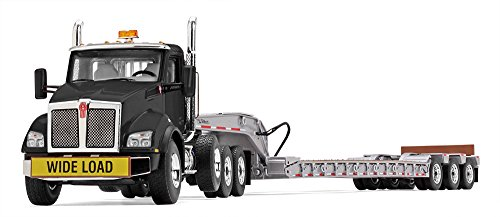 Lowboy Trailer - First Gear 1/50 scale Diecast Collectible Black/Silver Kenworth T880 with Tri-Axle Lowboy Trailer (50-3391)