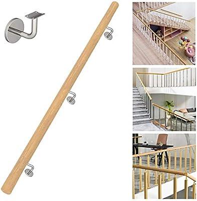 Cdbl Pasamanos de Escalera con Soporte, Pasamanos de Escalera de Madera, contra la Pared Loft Interior Barandillas for Ancianos Pasamanos Pasillo Pasamanos Antideslizante Sin barreras (Size : 14ft): Amazon.es: Hogar