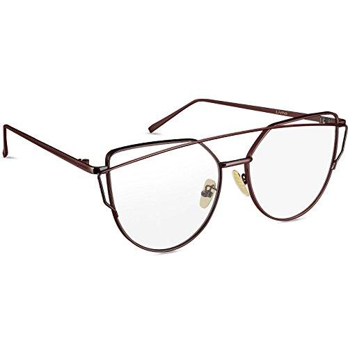 Livhò Sunglasses for Women, Cat Eye Mirrored Clear Lenses Metal Frame  Sunglasses UV400 Brown   363c1b2ce47f