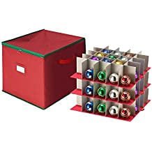 Tiny Tim Totes Red Holiday Ornament Storage Chest Holds 75 Balls w/ Dividers