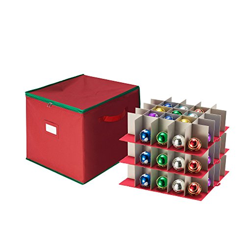 (Tiny Tim Totes 83-DT5535 Large Ornament Storage Chest with Zip Top and 75 Compartments-Stackable Cube in Red,)