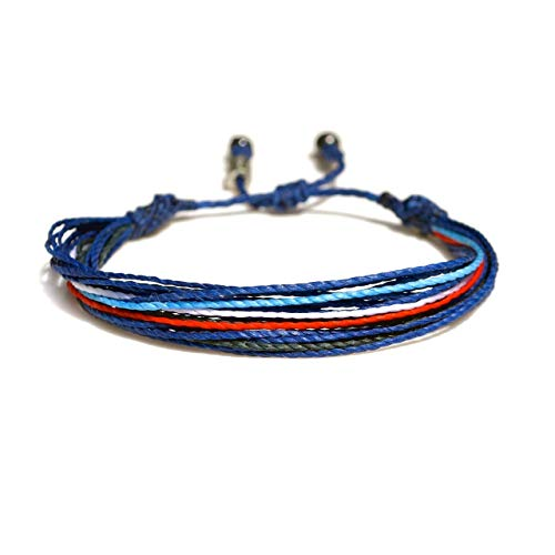 Unisex Adjustable Surfer String Bracelet in Blue, Navy, White and Red: Mens and Womens Nylon Cord Sports Fan Team Colors Soccer Bracelet with Hematite Stones by Rumi Sumaq