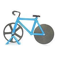 HanDingSM Fahrrad-Pizzaschneider, doppelte Schneide aus Edelstahl, Antihaftbeschichtung, Schneide-Räder mit Ständer blau