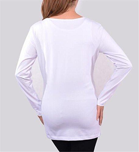 Pregnancy Rotondo per Collo Maglietta Moda Lunghe Maglia Gravidanza AmanGaGa Maglietta Sciolto Maniche Premaman White3 T Top Donna Bluse Shirt Bzzq7ZwF