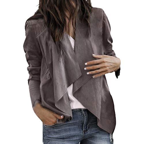 Elecenty Dames de et Hiver Couleur Revers Automne Veste Veste Femme Kaki en de Unie Mode Daim 4aqrB4wp