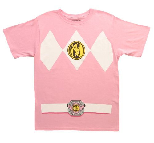 [The Power Rangers Pink Rangers Costume Adult T-shirt Tee, Small] (White Ranger Adult Costumes)