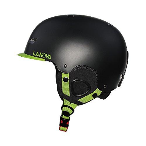 LANOVAGEAR Kids Youth Adult Snow Ski Snowboard Helmet with Fleece Liner (Black, L)