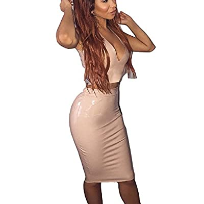 Rela Bota Women's High Waist PU Leather Solid Bodycon Bandage Metallic Midi Pencil Skirt