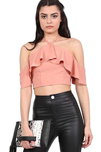 PILOT® atar el cuello halter blusa entallada volante Rosa empolvado