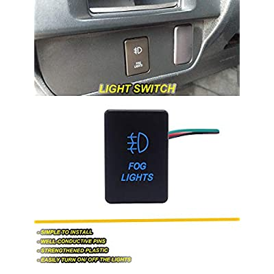 WeiSen Blue Backlight Push Switch LED Light Bar & Fog Lights & Dual USB Power Charger Interface ON-Off with Connector Wire Fit Toyota Tacoma Tundra 4Runner etc: Automotive