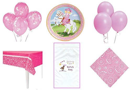 Pink Cowgirl Western Horse Theme Party Decorations Pack (1 Tablecover, 8 Plates, (Western Theme Invitations)