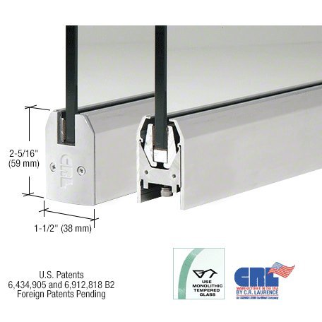 Satin Anodized Low Profile Tapered Door Rail Without Lock - 8'' Patch